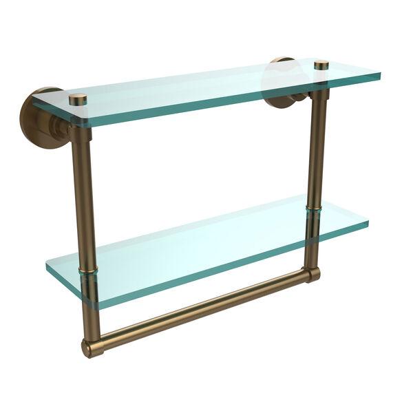 Washington Square Brushed Bronze 16 Inch Double Glass Shelf with Towel Bar, image 1