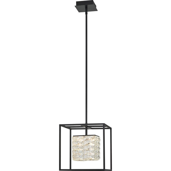 Dazzle Matte Black Integrated LED One-Light Pendant with Crystal, image 1