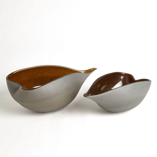 Frosted Gray and Amber 10-Inch Decorative Bowl, image 4