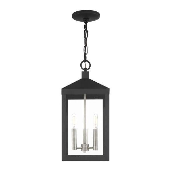 Nyack Black and Brushed Nickel Cluster Three-Light Outdoor Pendant Lantern, image 3