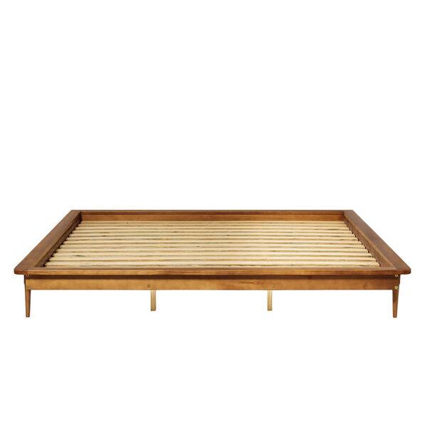 Caramel Wooden King Platform Bed, image 4