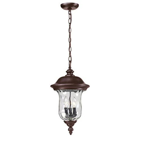 Armstrong Three-Light Rubbed Bronze Outdoor Chain Pendant Light, image 1