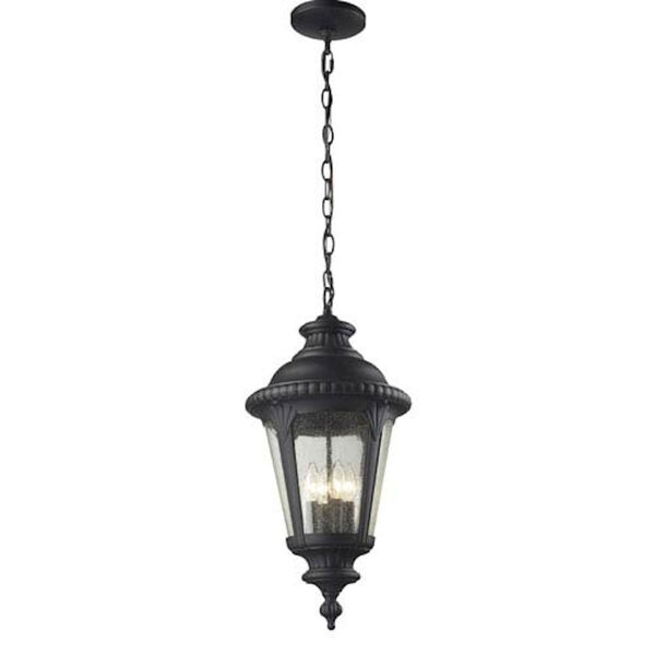 Medow Four-Light Black Outdoor Chain Pendant Light with Clear Seedy Glass, image 1