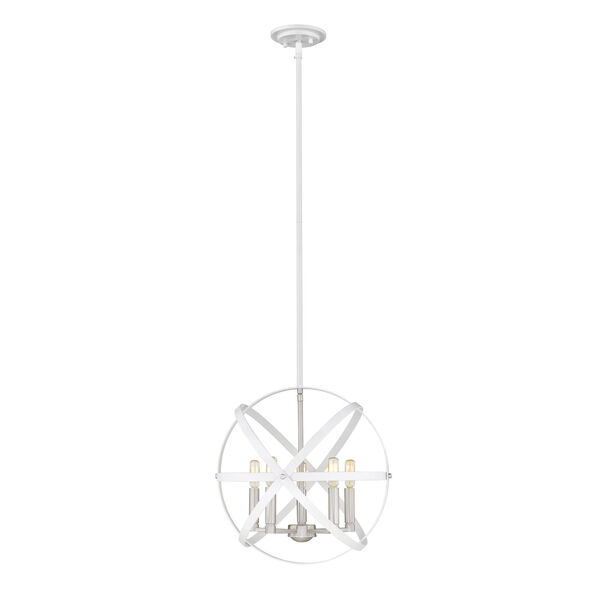 Cavallo Hammered White and Brushed Nickel Five-Light Chandelier, image 1