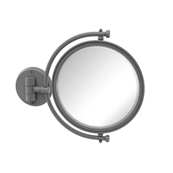 Matte Gray Eight-Inch Wall Mounted Make-Up Mirror 4X Magnification, image 1