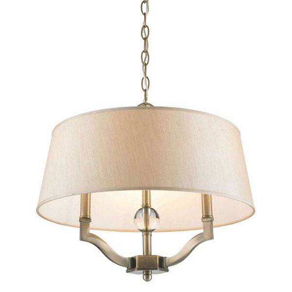Waverly Antique Brass Convertible Semi-Flush with Silken Parchment Shade, image 3