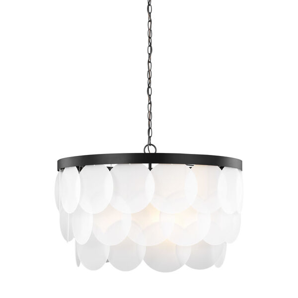 Mellita Midnight Black Eight-Light Pendant with Satin Etched Shade, image 2