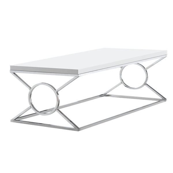 Glossy White and Chrome 22-Inch Coffee Table, image 1