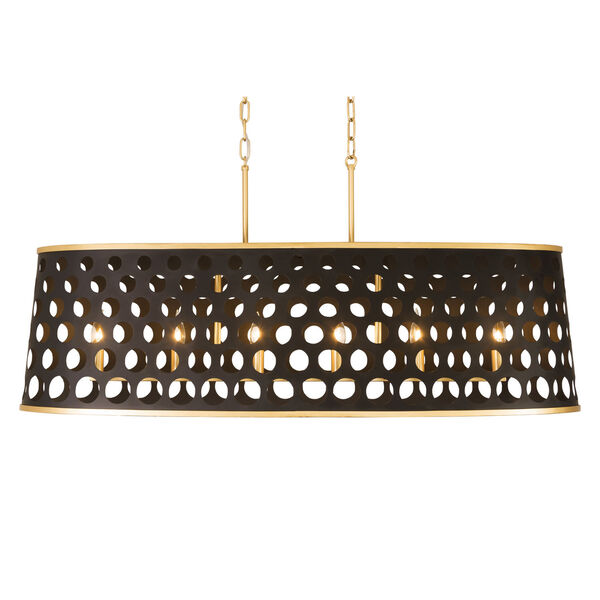 Bailey Matte Black French Gold 44-Inch Six-Light Pendant, image 2
