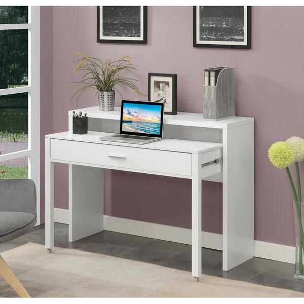 Newport JB White Sliding Desk with Drawer and Riser, image 2