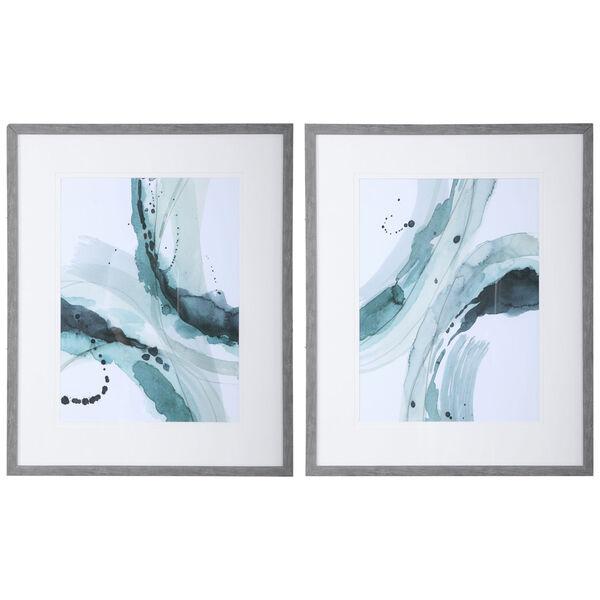 Depth Teal, Light Green and Aqua Abstract Watercolor Prints, Set of 2, image 1