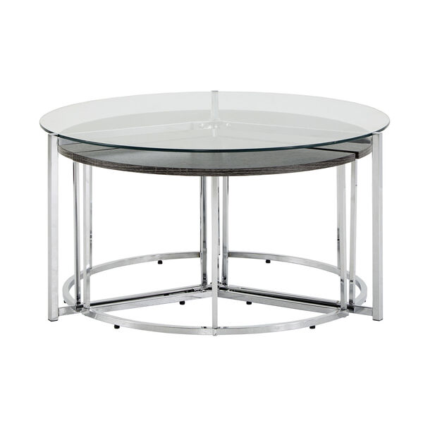 Alexia Chrome Cocktail Table with Glass Top, image 3
