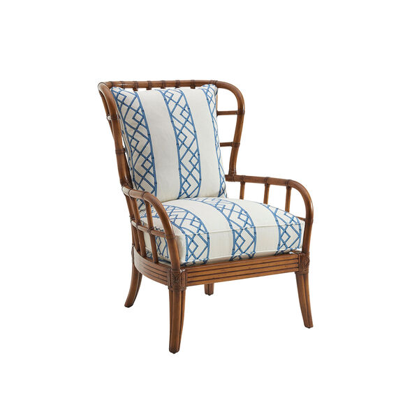 Tommy Bahama Upholstery Brown, White and Blue Sunset Cove Chair, image 1