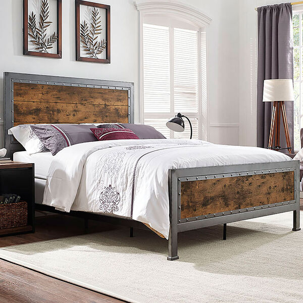 Queen Size Industrial Wood and Metal Bed - Brown, image 1