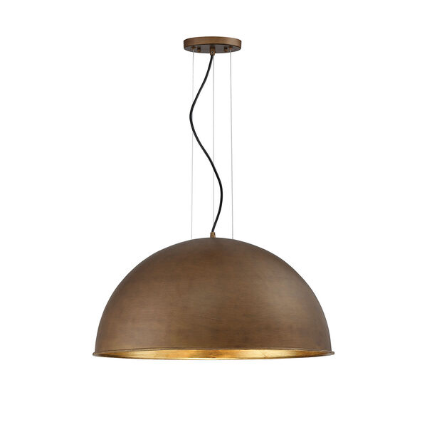 Sommerton Rubbed Bronze with Gold Leaf Three-Light Pendant, image 1