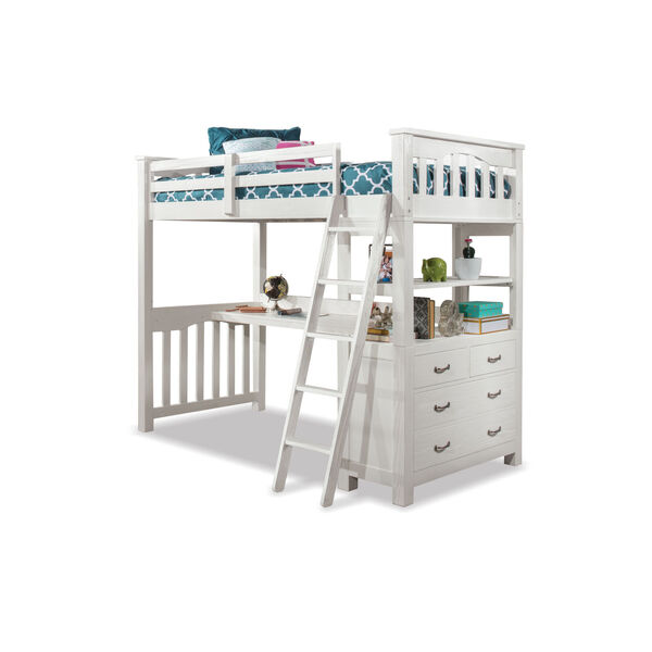 Highlands White Twin Loft Bed With Desk, image 2