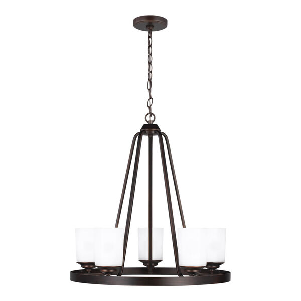 Kemal Bronze Five-Light Chandelier with Etched White Inside Shade Energy Star, image 1