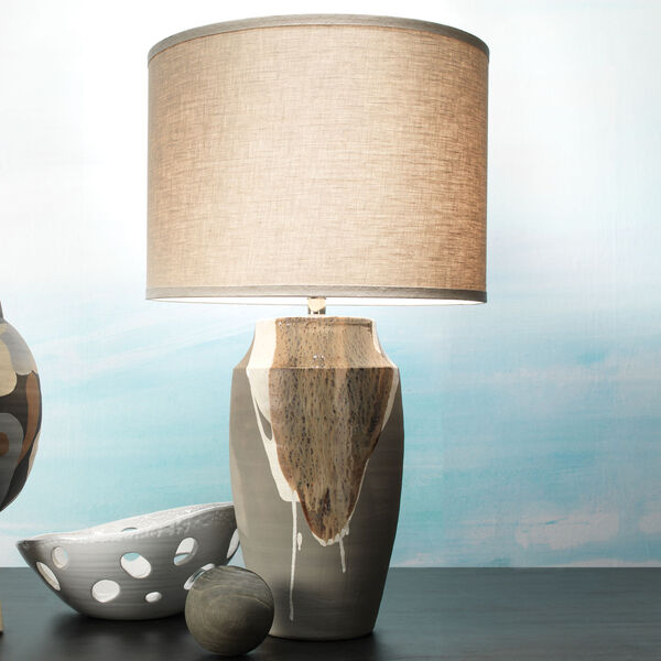 Landslide Matte Gray with Beige and White Drip One-Light Table Lamp, image 2