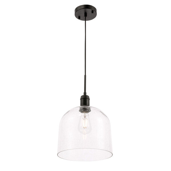 Gabe Black 10-Inch One-Light Pendant with Clear Seeded Glass, image 6
