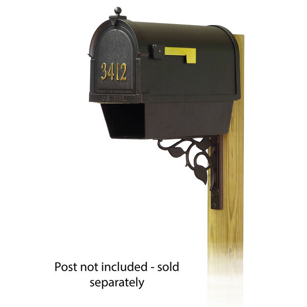 Curbside Black Mailbox with Front Address Number and Floral Front Single Mounting Bracket, image 1