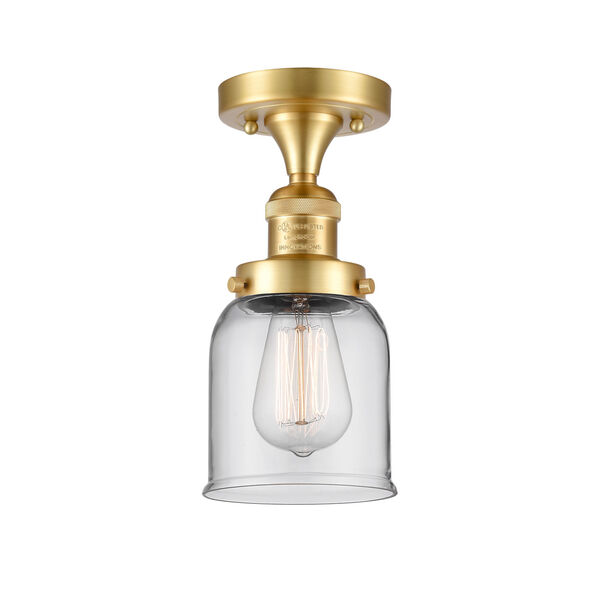 Franklin Restoration Satin Gold Nine-Inch One-Light Semi-Flush Mount with Clear Small Bell Shade, image 1