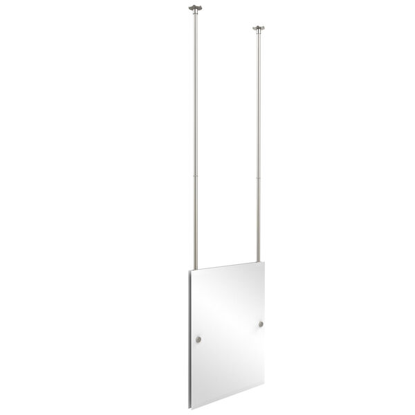 Polished Nickel Rectangle Ceiling Hung Mirror, image 1
