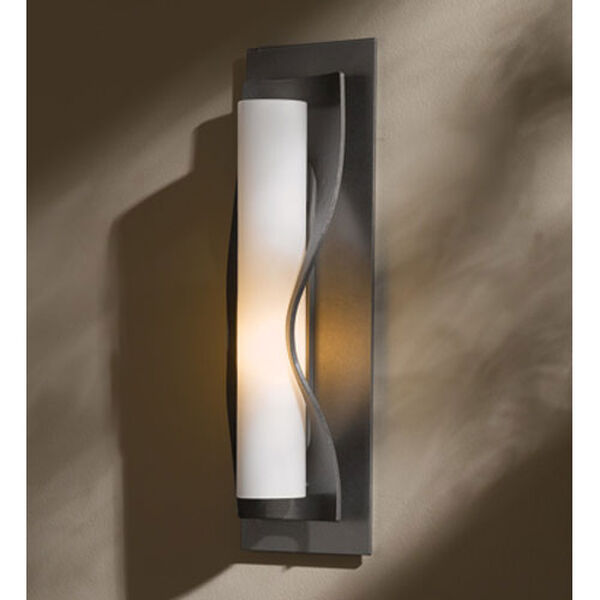 Dune Burnished Steel One Light Wall Sconce with Opal Glass, image 1