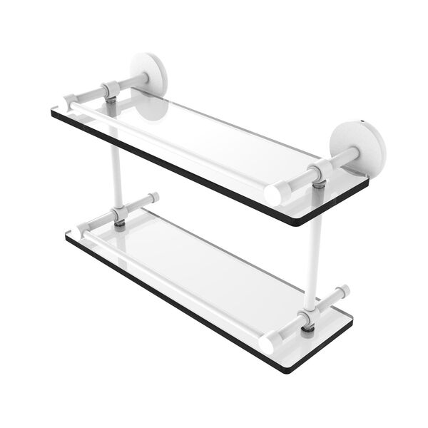 Prestige Skyline Matte White 16-Inch Tempered Double Glass Shelf with Gallery Rail, image 1