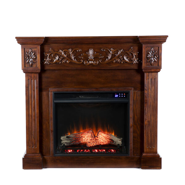 Calvert Rich espresso Carved Electric Fireplace, image 2