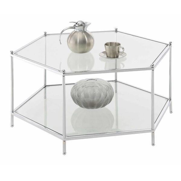 Royal Crest Clear Glass Chrome Frame Hexagonal Chrome Coffee Table, image 3