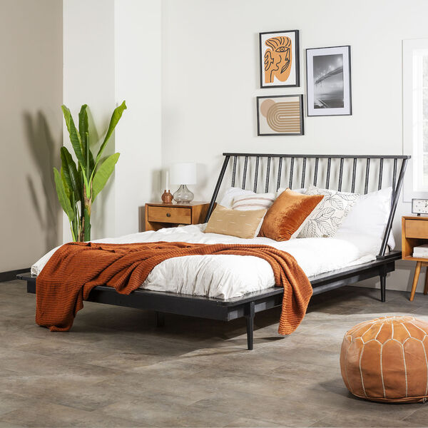 Black Wood Queen Spindle Bed, image 1