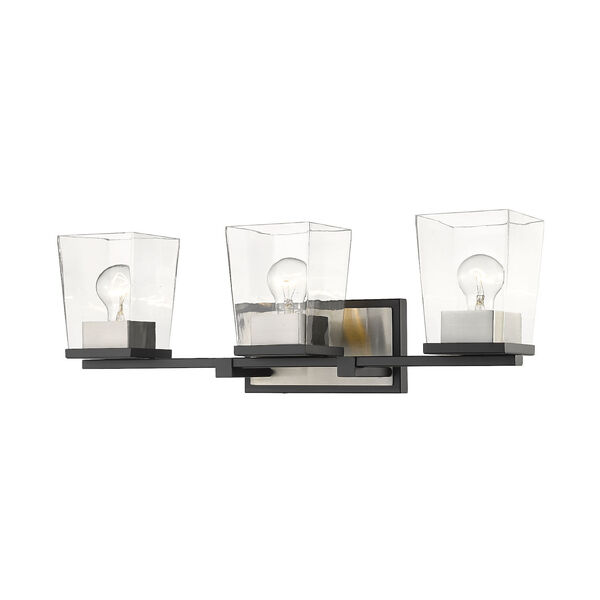 Bleeker Street Matte Black and Brushed Nickel Three-Light Vanity with Transparent Glass, image 1