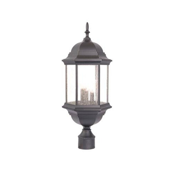 Madison Three-Light Matte Black Post Lantern, image 1