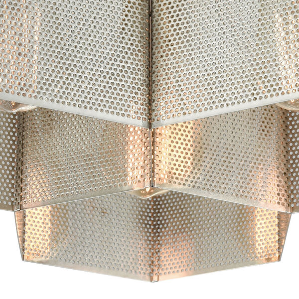 Compartir Polished Nickel and Satin Brass Three-Light Semi-Flush Mount, image 3