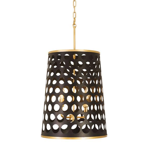 Bailey Matte Black French Gold Four-Light Pendant, image 1