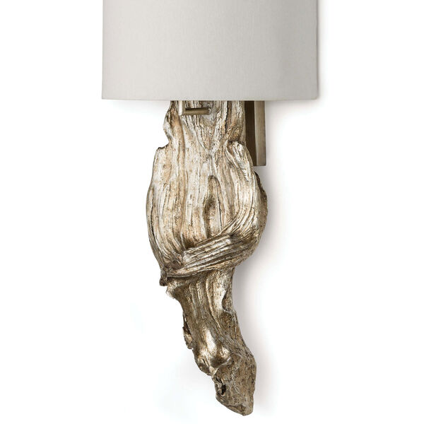 Modern Glamour Ambered Silver Leaf Two-Light Wall Sconce, image 3