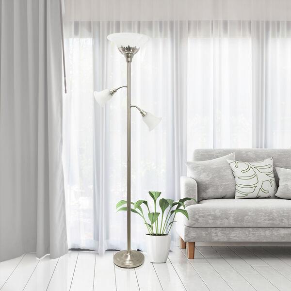 Quince Brushed Nickel White Shade Three-Light Floor Lamp, image 4
