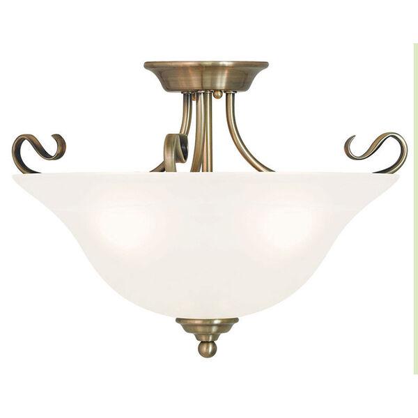 Coronado Antique Brass 19-Inch Three-Light Semi Flush Mount, image 1