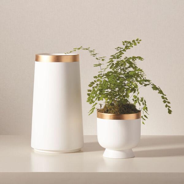 Studio A Home White Large Modern Gold Banded Vase, image 3