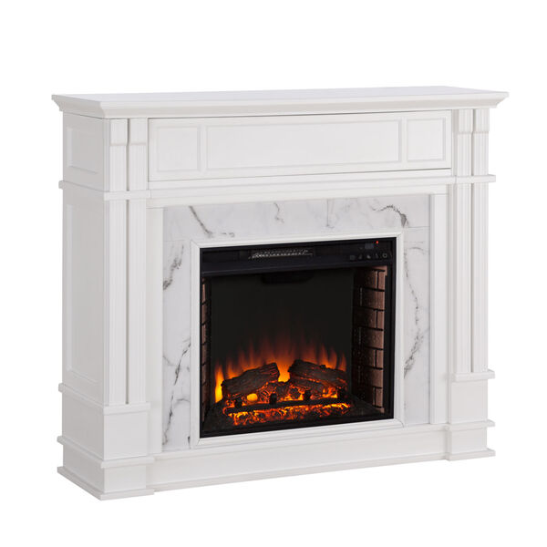Highgate White Faux Cararra Marble Electric Media Fireplace, image 5