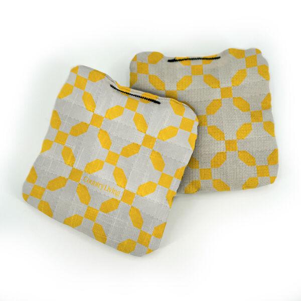 Country Living Yellow Sun Burst Quilt Pro Cornhole Bags, image 1