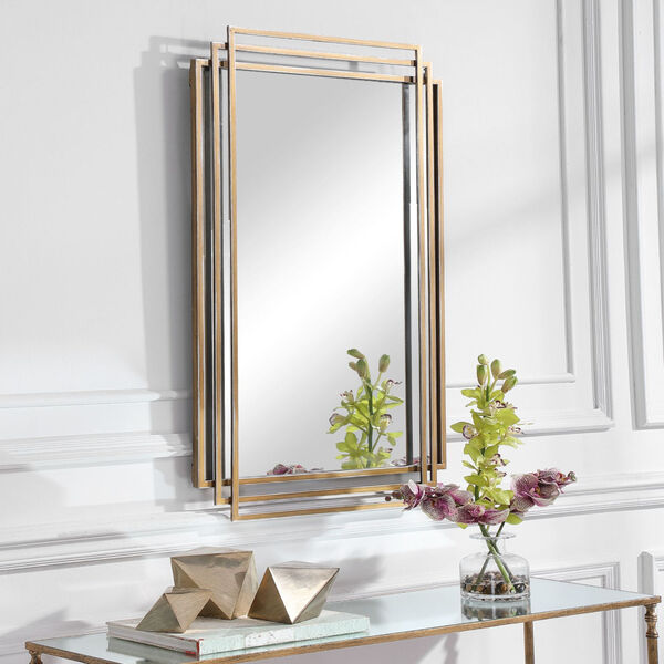 Amherst Brushed Gold Mirror, image 1