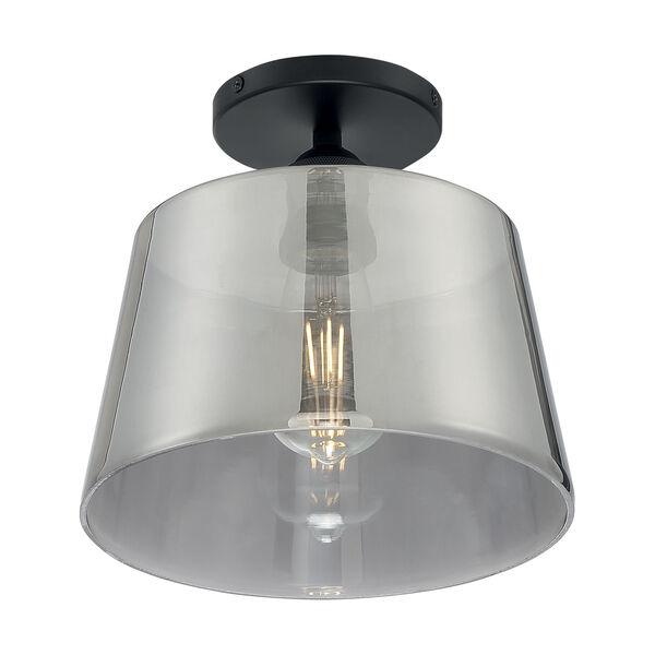 Motif Black and Smoked Glass 10-Inch One-Light Semi-Flush Mount, image 1