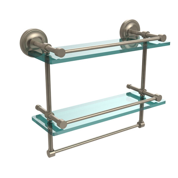 16 Inch Gallery Double Glass Shelf with Towel Bar, Antique Pewter, image 1