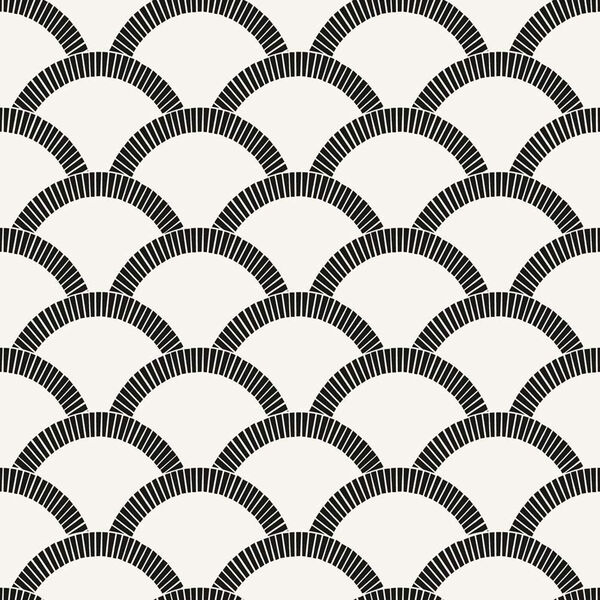 Mosaic Scallop Black and Cream 28 Sq. Ft. Peel and Stick Wallpaper, image 2