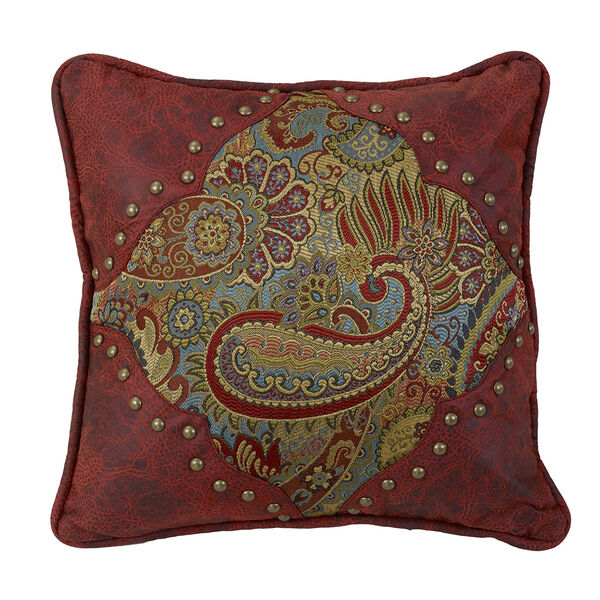 San Angelo Paisley 18 x 18 In. Throw Pillow with Red Faux Leather, image 1