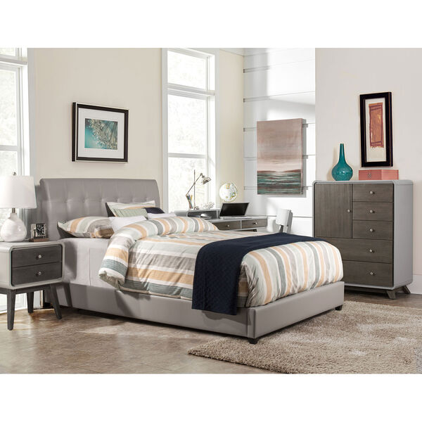 Lusso Queen Bed Set with Rails - Gray Faux Leather, image 1