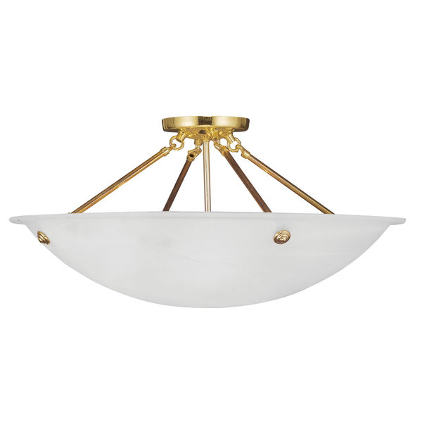 Home Basics Polished Brass Four-Light Semi Flush Mount, image 1