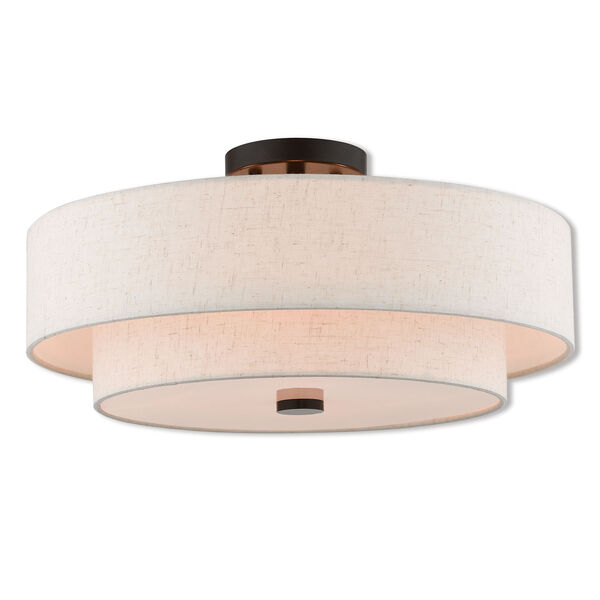 Claremont English Bronze 18-Inch Four-Light Ceiling Mount, image 1