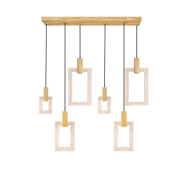 Anello White Oak Integrated LED 48-Inch Chandelier, image 1